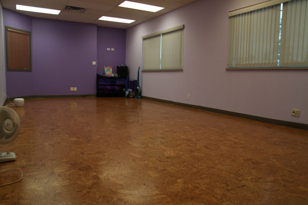 Our 420 square foot yoga studio! Cork floors and lots of natural light.